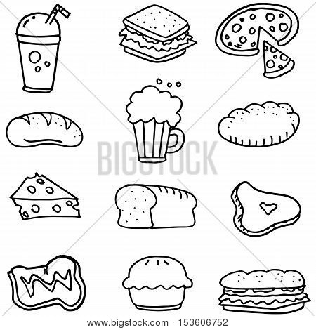 Doodle of food hand draw collection stock vector