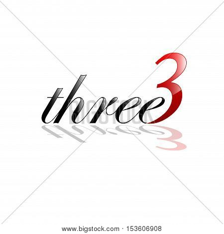 Vector sign three number and letter, isolated illustration
