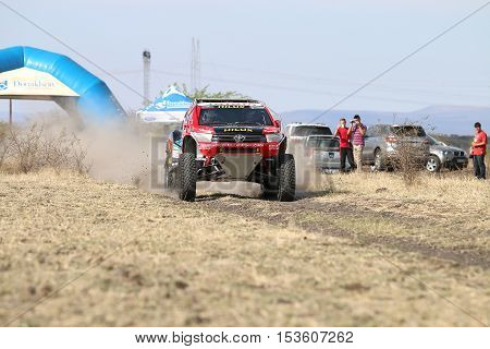 Giniel De Villiers And Dirk Von Zitzewitztest Driving The Toyota Hilux Evo