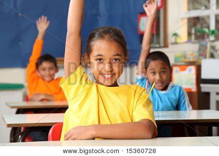 School children raised hands