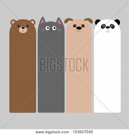 Animal head set. Cartoon kawaii baby bear cat dog panda. Bookmark paper sticker collection. Flat design. Gray background. Vector illustration