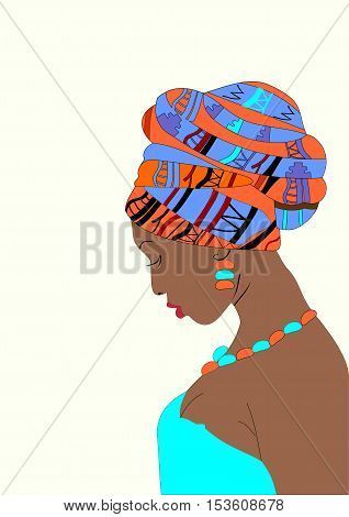 Beautiful girl in the sky blue dress with dark skin with a turban on his head vector illustration