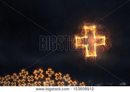 Cross glowing icon . Mixed media