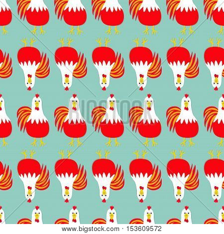 Rooster Cock bird. Seamless Pattern line. 2017 Happy New Year symbol Chinese calendar. Cute cartoon funny character with big feather tail. Baby farm animal. Blue background. Flat design. Vector