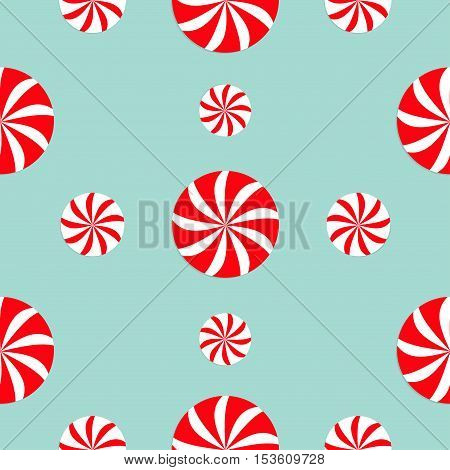 Christmas Round white and red candy sweet set. Seamless Pattern Decoration. Wrapping paper textile template. Blue background. Flat design. Vector illustration.