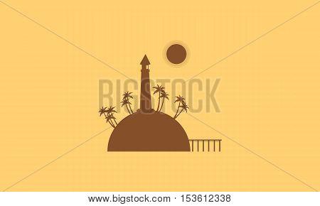 Silhouette of island and bridge landscape vector flat