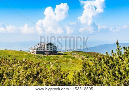Aerial veiw mountain landscape with Seven Rila Lakes hut in National Park Rila, Bulgaria