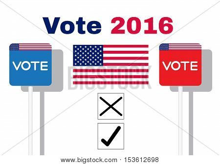 The concept of voting signboard with the word Vote on paper with flag USA Blue and Red on white background
