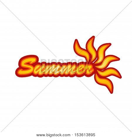 vector illustration summer with text and sunray