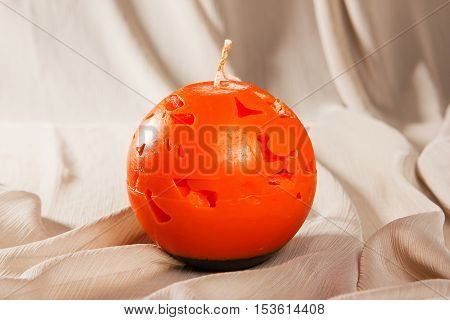 Souvenir Gift Candle In The Shape Of Carved Pumpkin