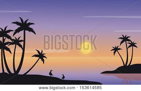 At sunrise seaside landscape of silhouette vector iillustration