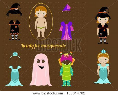 Fancy dresses collection for kids, Cute little girl body template and costumes of witch, fairy, mermaid, ghost and monster. Make your fancy character.