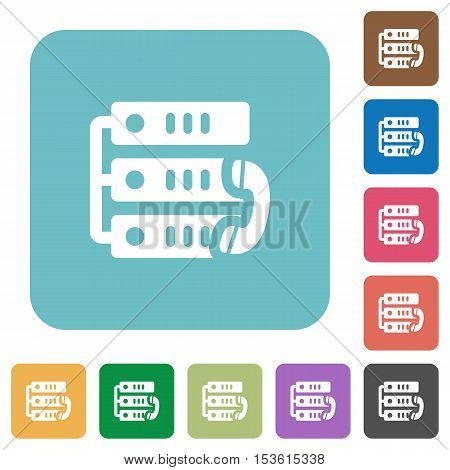 VoIP call white flat icons on color rounded square backgrounds