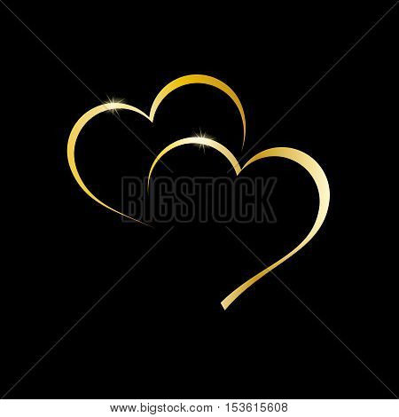 Vector logo golden two hearts on black background