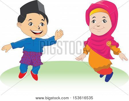 Illustration of Patani kids in Patani (Malay people in southern of Thailand)