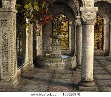 3d render of an ancient stone terrace with fountain surrounded with red and yellow autumn maples