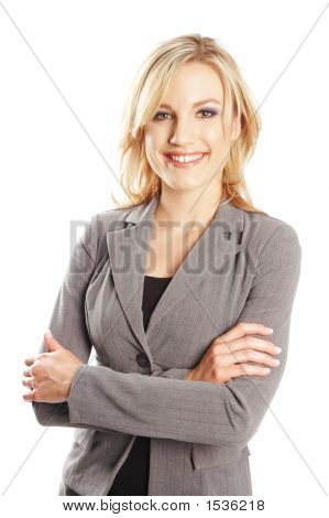 a portrait of a business woman against white background poster