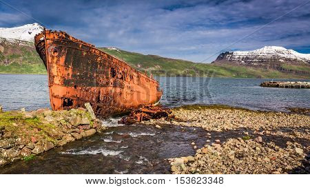 Shipwreck On The Arctic Sea In Iceland