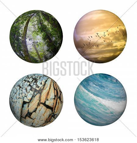 Four spheres representing elements of nature, sky, ocean, rock and forest, isolated on white background. Environment, conservation, nature, ecology concepts