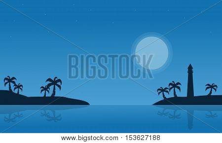 Silhouette of island on seaside scnery vector illustration
