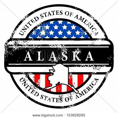 Grunge rubber stamp with name of Alaska, vector illustration
