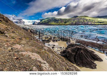 Huge Vatnajokull Glacier And Mountains In Iceland
