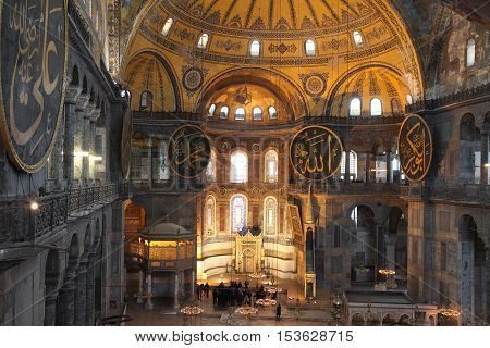ISTANBUL,TURKEY - JANUARY 27 : Tourist visits Hagia Sophia on January 27, 2012 in Istanbul,Turkey. Hagia Sophia is former Orthodox patriarchal basilica, later a mosque and now a museum.