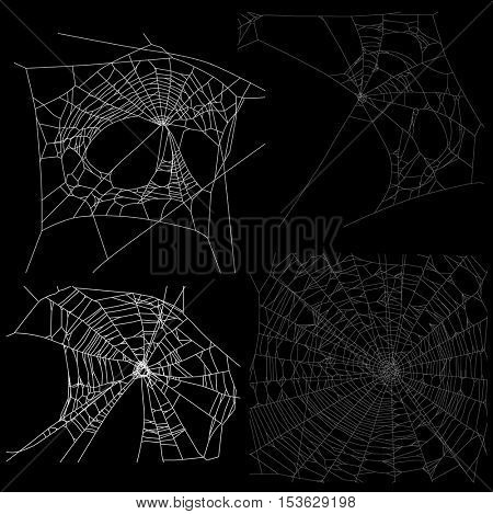 illustration with four spider webs isolated on black background