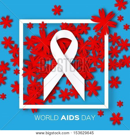 Aids Awareness. Ribbon. World Stop Aids Day on blue background with frame and red origami flower. Vector design illustration.