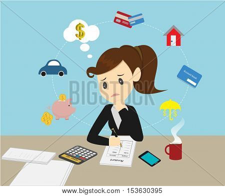 Businesswomen Managing account family finances for income and expenditure.
