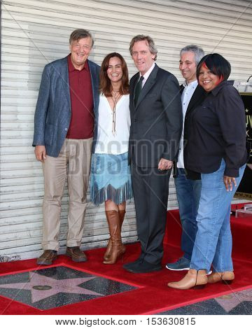 LLOS ANGELES - OCT 25:  Stephen Fry, Diane Farr, Hugh Laurie, David Shore, Jean McClain aka Pepper MaShay at the Hugh Laurie Star Ceremony at the Hollywood Blvd. on October 25, 2016 in Los Angeles, CA