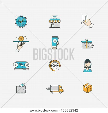 Delivery, e-commerce and online sale line icons with flat design elements. Vector illustration.