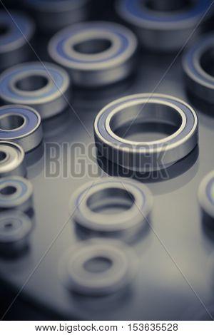Close up shot of some ball bearings.