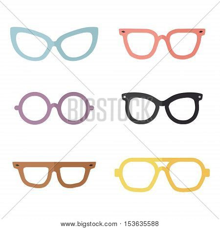 Eyeglasses flat multicolored vector set. Modern minimal design. Part two.