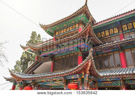 Old Chinese temple, western hill, forest park in Kunming, Yunnan, China.