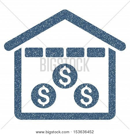Money Depository grainy textured icon for overlay watermark stamps. Flat symbol with dirty texture. Dotted vector blue ink rubber seal stamp with grunge design on a white background.