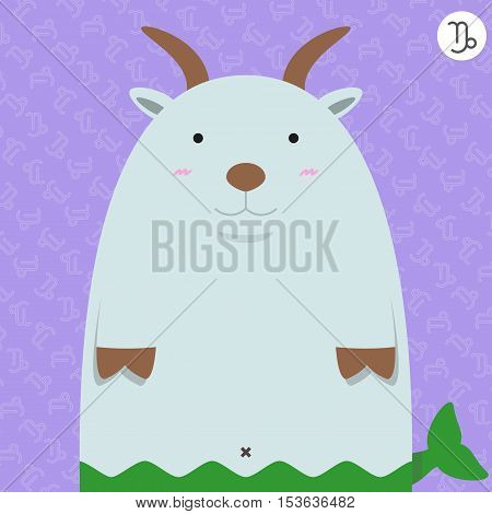 cute big fat capricorn zodiac cartoon with their sign on color background
