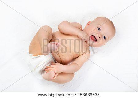 Little Baby Wearing A Diaper