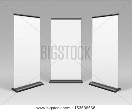 Vector White Blank Roll up Business Banner Stands for Advertising Isolated on Background