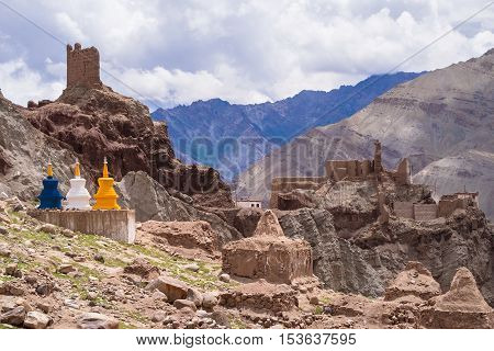 Ladakh India - August 5 2015: The three color stupas at Basgo Monastery on Indian Himalay mountains leh Ladakh Northern India