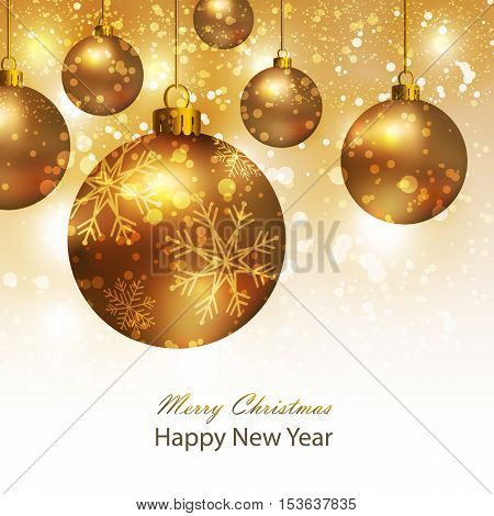 Greeting card with gold Christmas balls. Background with gold Christmas balls. Illustration