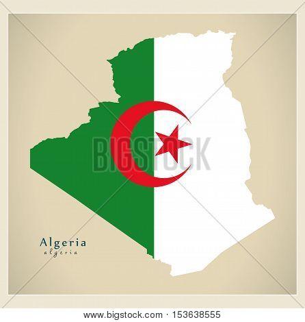 Modern Map - Algeria flag colored DZ Algeria vector