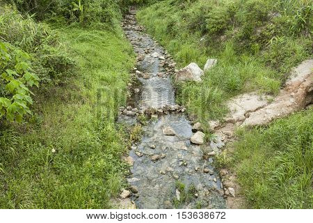 Peaceful stream flows through lush forestand small dams to store water