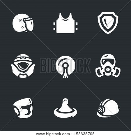 Police helmet, body armor, shield, suit, stikine, mask, boxing helmet, condom, hard hat.
