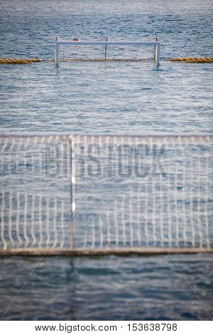 Color image of a water polo gate with nobody playing.