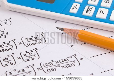 Mathematics, Math Equations Close-up. Math Homework Or Math Exams. Solving Mathematical Problem. Mat