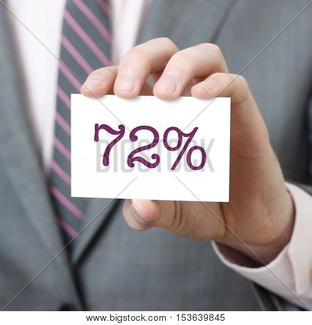 72% written on a card held by a businessman