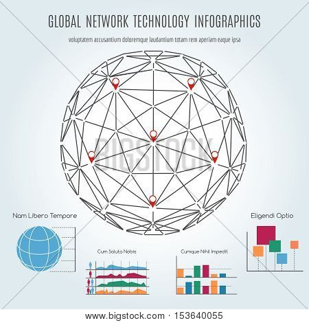 Global network technology infographics with sphere and diagramm. Vector illustration