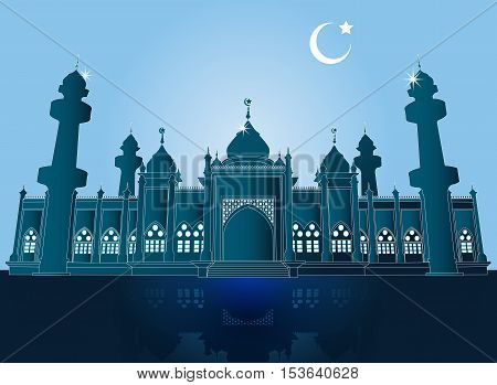 Silhouette Mosque, Domes and Minarets in Bright night Background with Crescent Moon, Vector Illustration