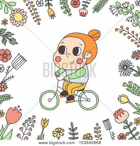 Girl riding a bike in the floral frame vector illustration. Cute naive style.